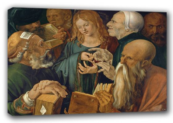 Durer, Albrecht: Christ Among the Doctors. Religious Fine Art Canvas. Sizes: A3/A2/A1 (00164)
